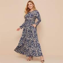 Plus Damask & Leopard Print A-Line Dress