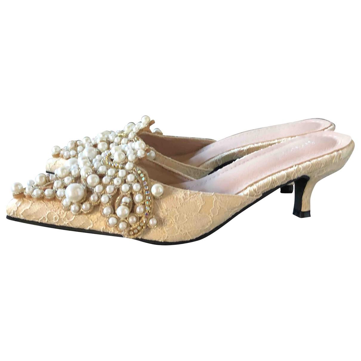 - Sandales   pour femme en a paillettes - beige