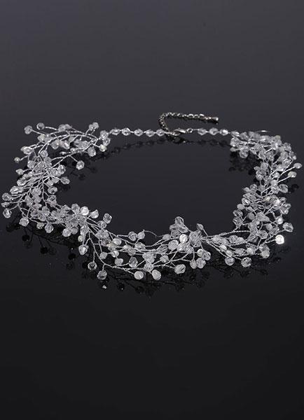 Milanoo Claro cuello novia hecho a mano joyeria del collar de diamantes de imitacion boda