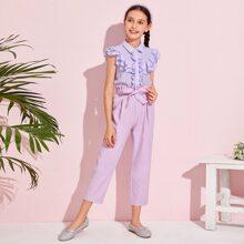 Maedchen Bluse mit mehrschichtigem Raffungsaum und Hose mit Papiertaschen auf Taille