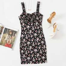 Floral Print Ruched Bust Frill Trim Bodycon Dress