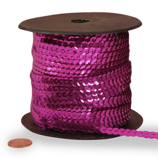 Cord Metal Hot Pink Faceted Sequins 6 mm X 80 Yards by Ribbons.com