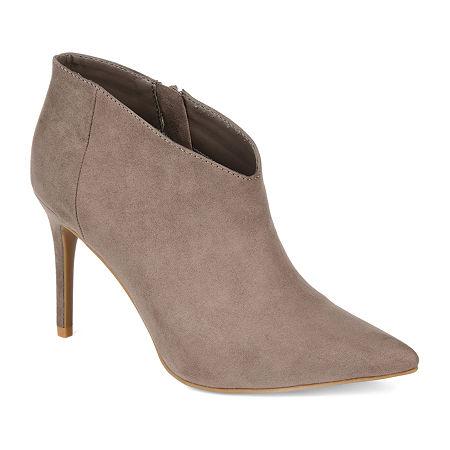 Journee Collection Womens Demmi Stiletto Heel Booties, 8 1/2 Medium, Beige