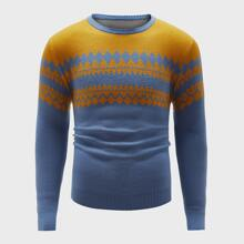 Men Argyle Pattern Colorblock Sweater
