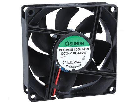 Sunon , 24 V dc, DC Axial Fan, 80 x 80 x 25mm, 102m³/h, 4.8W