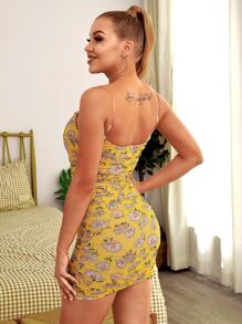 HouseOfChic Floral Print Ruched Mesh Bodycon Dress