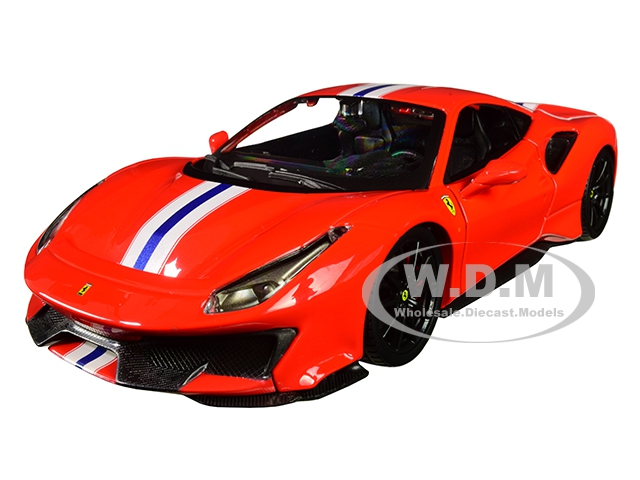 Ferrari 488 Pista Red with White and Blue Stripes 1/24 Diecast Model Car by Bburago