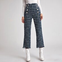 Double Breasted Frayed Trim Tweed Pants