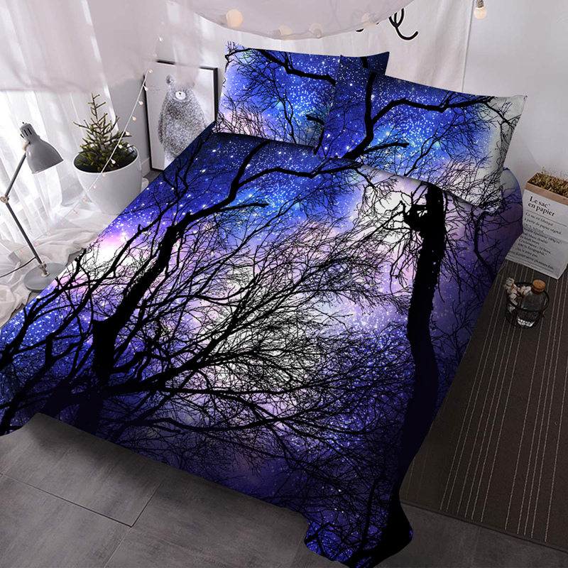 3D Starry Purple Sky and Black Tree 3Pcs Microfiber No-Fading Comforter Set 3D Floral Comforter with 2 Pillow Covers