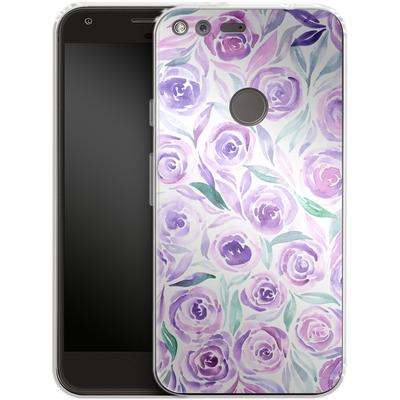 Google Pixel Silikon Handyhuelle - Purple Rose Floral von Becky Starsmore