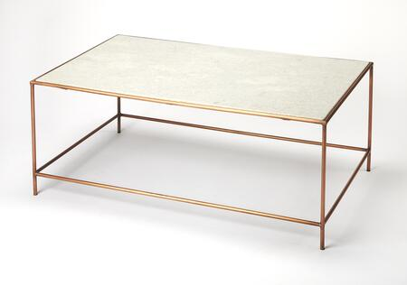 Copperfield Collection 3871389 Coffee Table with Modern Style  Rectangular Shape  Medium Density Fiberboard (MDF) and Iron Metal Material in Marble