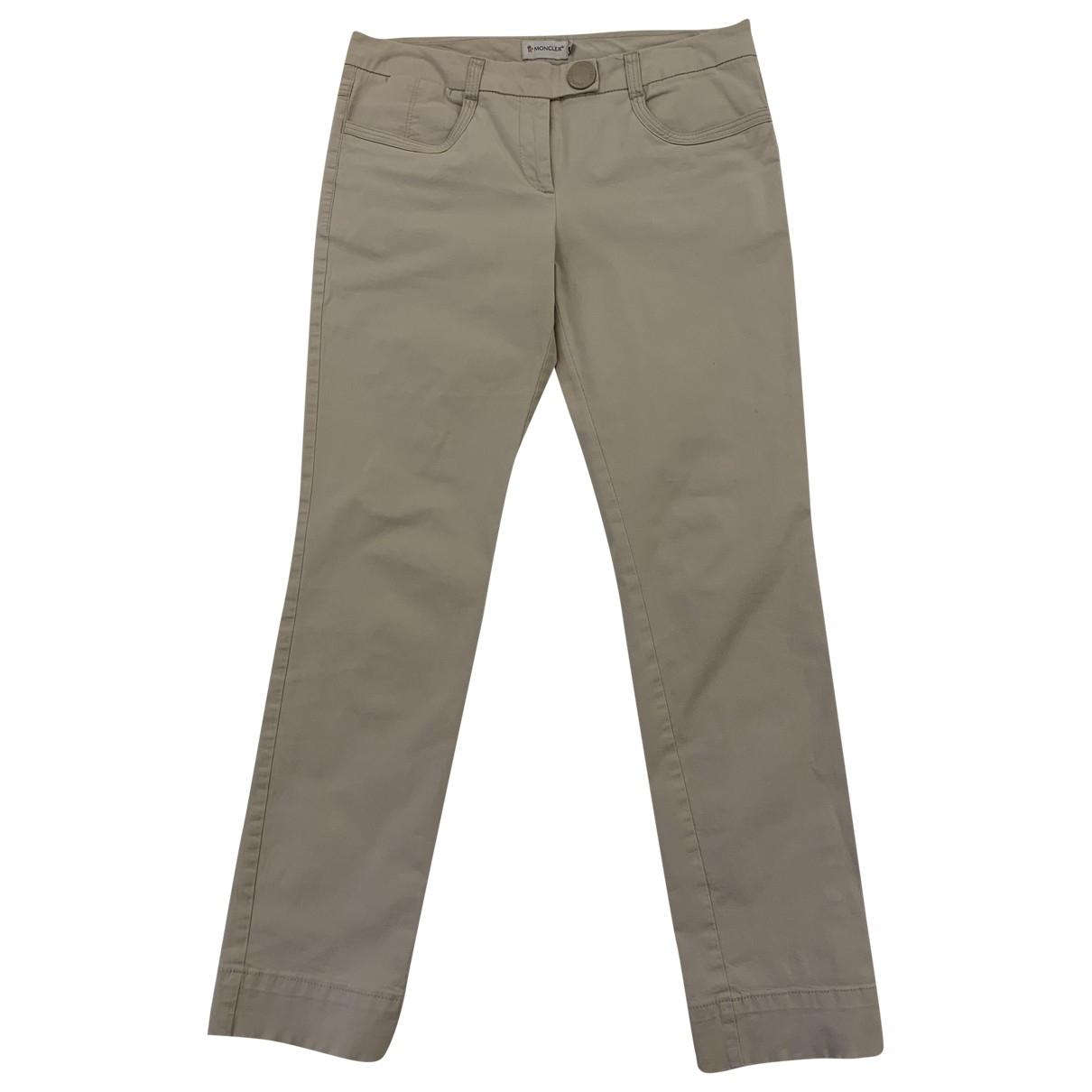 Moncler \N Beige Cotton Trousers for Women 40 IT