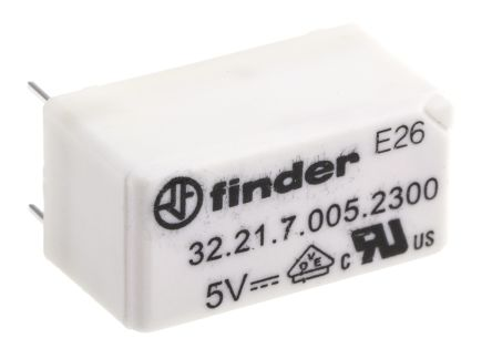 Finder , 5V dc Coil Non-Latching Relay SPNO, 6A Switching Current PCB Mount Single Pole