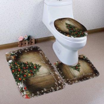 Christmas Tree Wood Pattern 3 Pcs Bathroom Toilet Mat