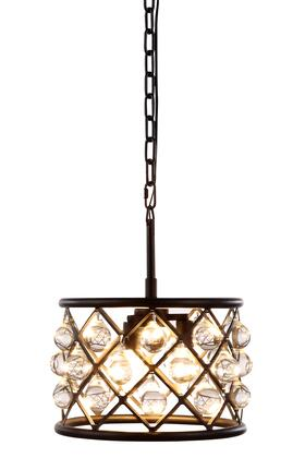1213D12MB/RC 1213 Madison Collection Pendant Lamp D: 12in H: 9in Lt: 3 Mocha Brown Finish Royal Cut Crystal