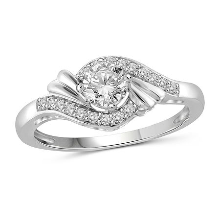 Womens 1 CT. T.W. White Cubic Zirconia Sterling Silver Engagement Ring, 6 , No Color Family