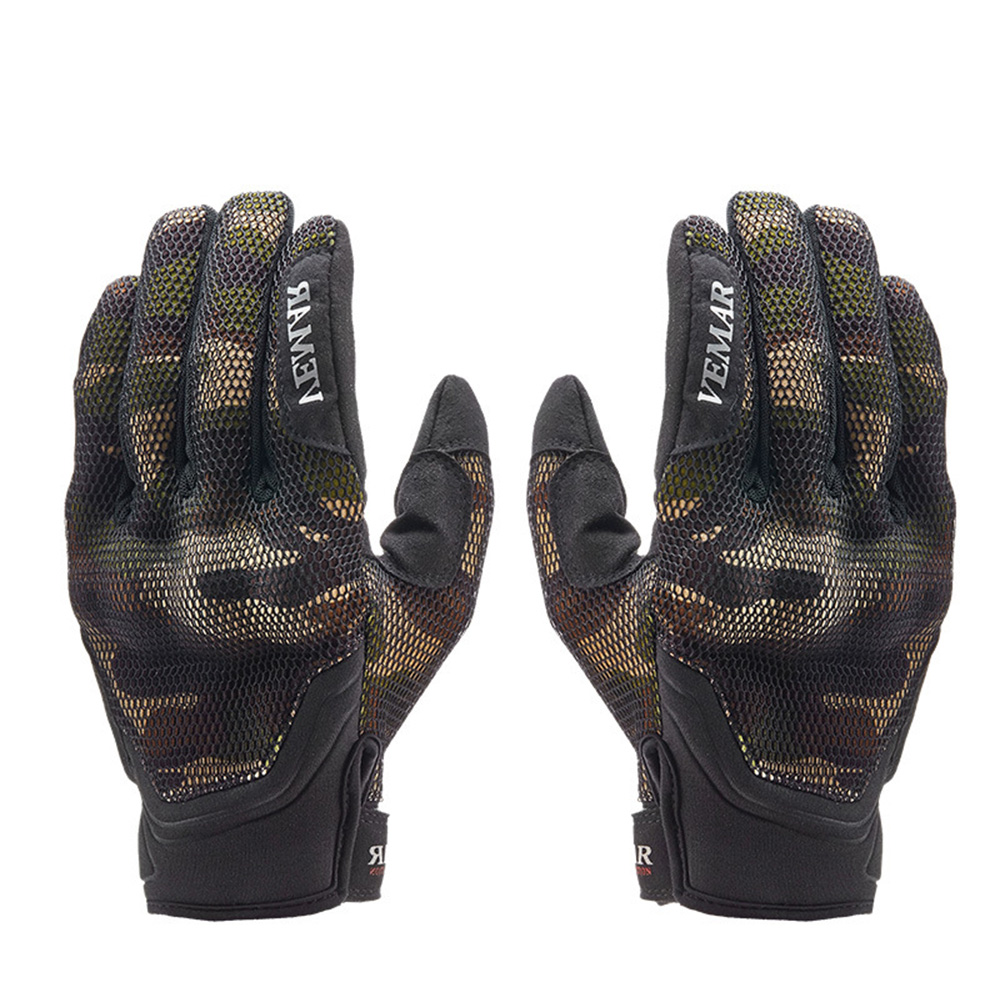 A Pair Breathable Motorcycle Gloves Polyester Fiber Shield Fall-Proof All-Finger Gloves Protect Hands