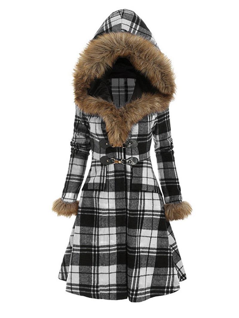 Ericdress Horn Button Slim Patchwork Long Winter Overcoat