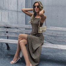 Polka Dot Wrap Hem Cami Dress