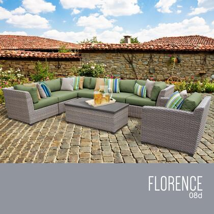 FLORENCE-08d-CILANTRO Florence 8 Piece Outdoor Wicker Patio Furniture Set 08d with 2 Covers: Grey and