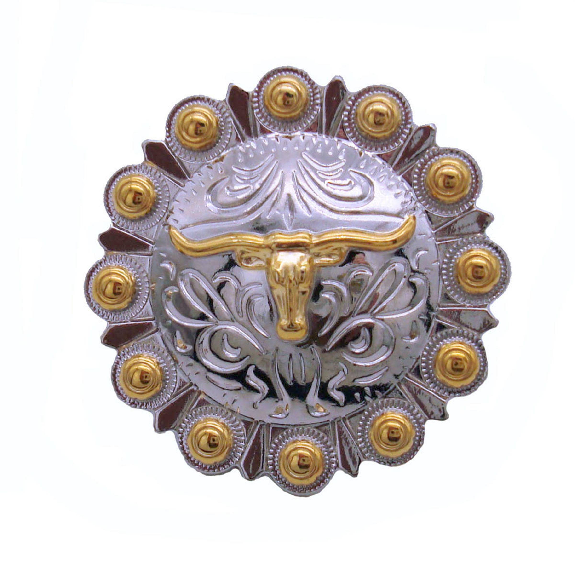 Steer in Round Knob, Nickel/Gold