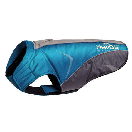 The Pet Life Helios Altitude-Mountaineer Wrap-Hook and Loop Protective Waterproof Dog Coat w/ Blackshark technology, One Size , Blue