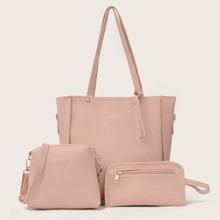 Tassel Detail Textured PU Bag Set 3pcs