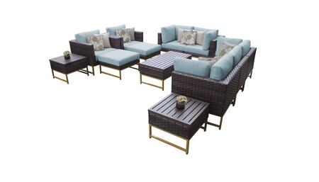 Barcelona BARCELONA-12h-GLD-SPA 12-Piece Patio Set 12h with 4 Corner Chairs  2 Club Chairs  1 Armless Chair  1 Coffee Table  2 Ottomans  2 End Tables