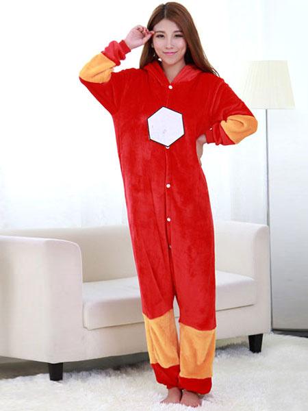 Milanoo Kigurumi Adult Onesie Iron Man Pajamas Red Flannel Winter Sleepwear Cosplay Costume Halloween