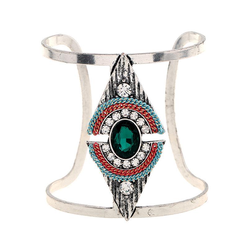 Bohemian Triangle Adjustable Bracelets Vintage Crystal Rhinestones Wide Bangle Bracelets for Women