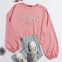 Sweatshirt mit Laternenaermeln und Buchstaben Grafik