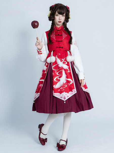 Milanoo Chinese Style Lolita OP Dress Crane Print Pom Poms Bows Qi Lolita One Piece Dresses