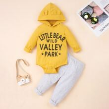 Baby Boy Letter Graphic Hooded Bodysuit & Sweatpants