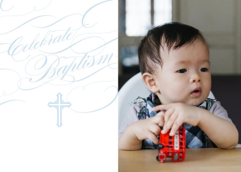 Christening + Baptism 5x7 Folded Cards, Standard Cardstock 85lb, Card & Stationery -Baptismal Blessings - Celestial Blue
