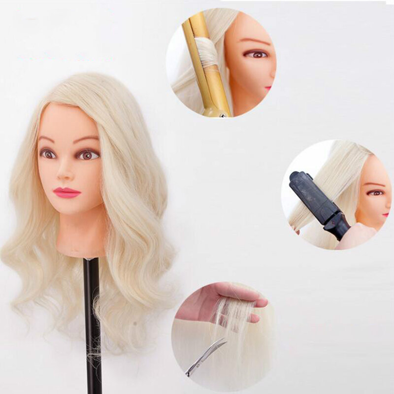 70% Human Hair Hairdressing Training Head Model Disc Hair Braided Permed Curl Hair Hairdresser Practice Mannequin