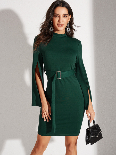 YOINS Green Belted Slit Design Round Neck Bell Sleeves Dress
