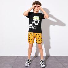 Boys Dinosaur Top & Lightning Shorts Set