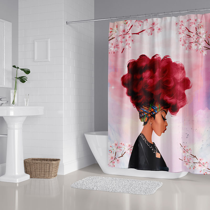 3D Cartoon Woman Head Print Waterproof and Mildewproof Polyester Shower Curtains