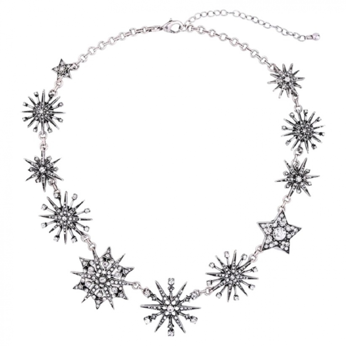Non Signe / Unsigned Motifs Etoiles Kette in  Silber Metall