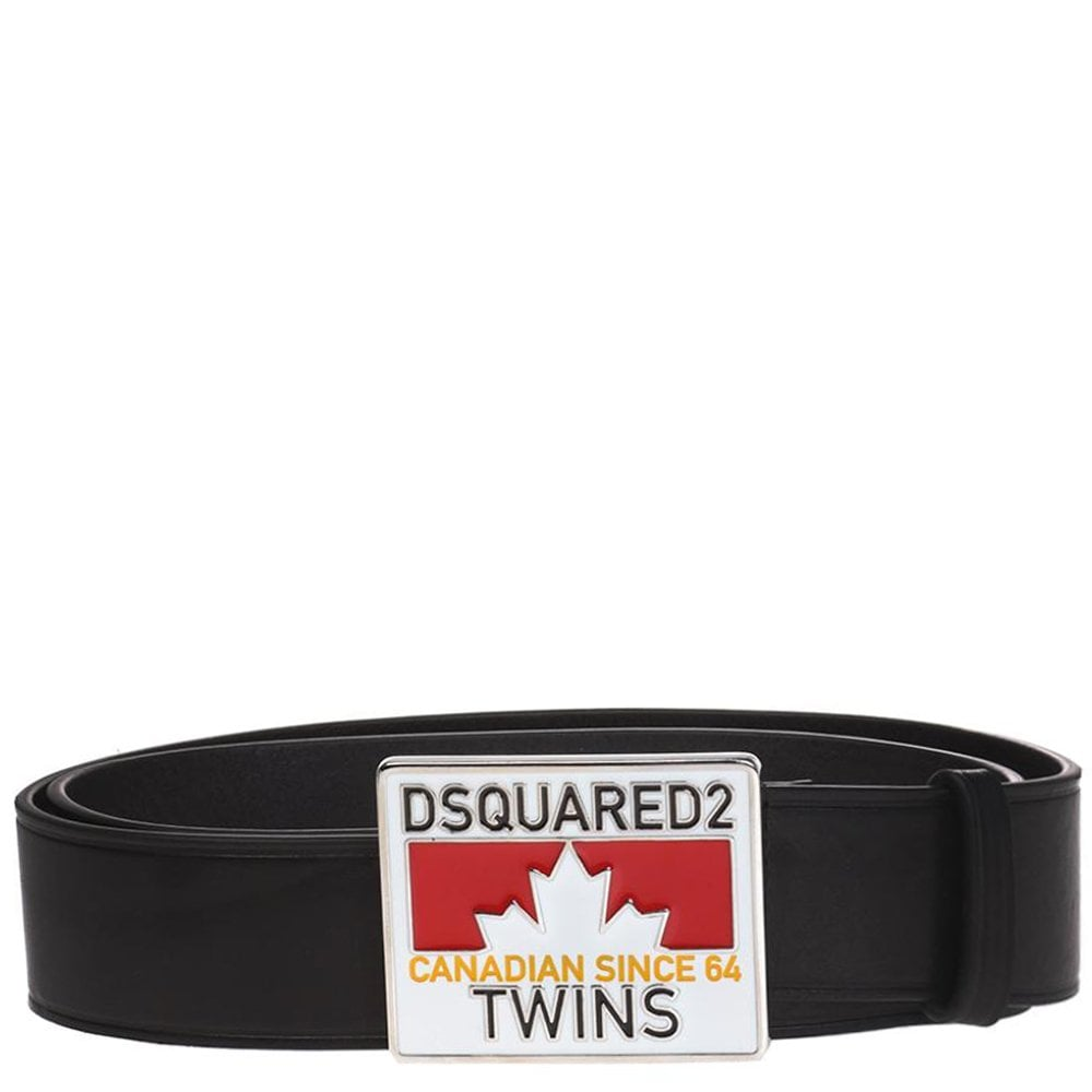 DSquared2 Caten Twins Plaque Belt Colour: BLACK, Size: 32