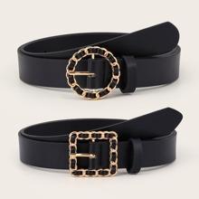 2 piezas cinturon con hebilla con cadena