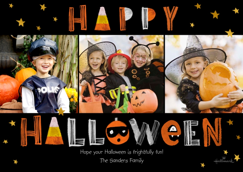 Halloween Photo Cards 5x7 Cards, Premium Cardstock 120lb with Rounded Corners, Card & Stationery -Chalkboard Happy Halloween