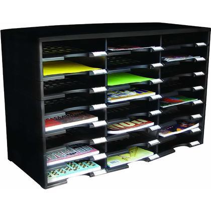 Storex® Trieuse de littérature à 24 compartiments - Noir