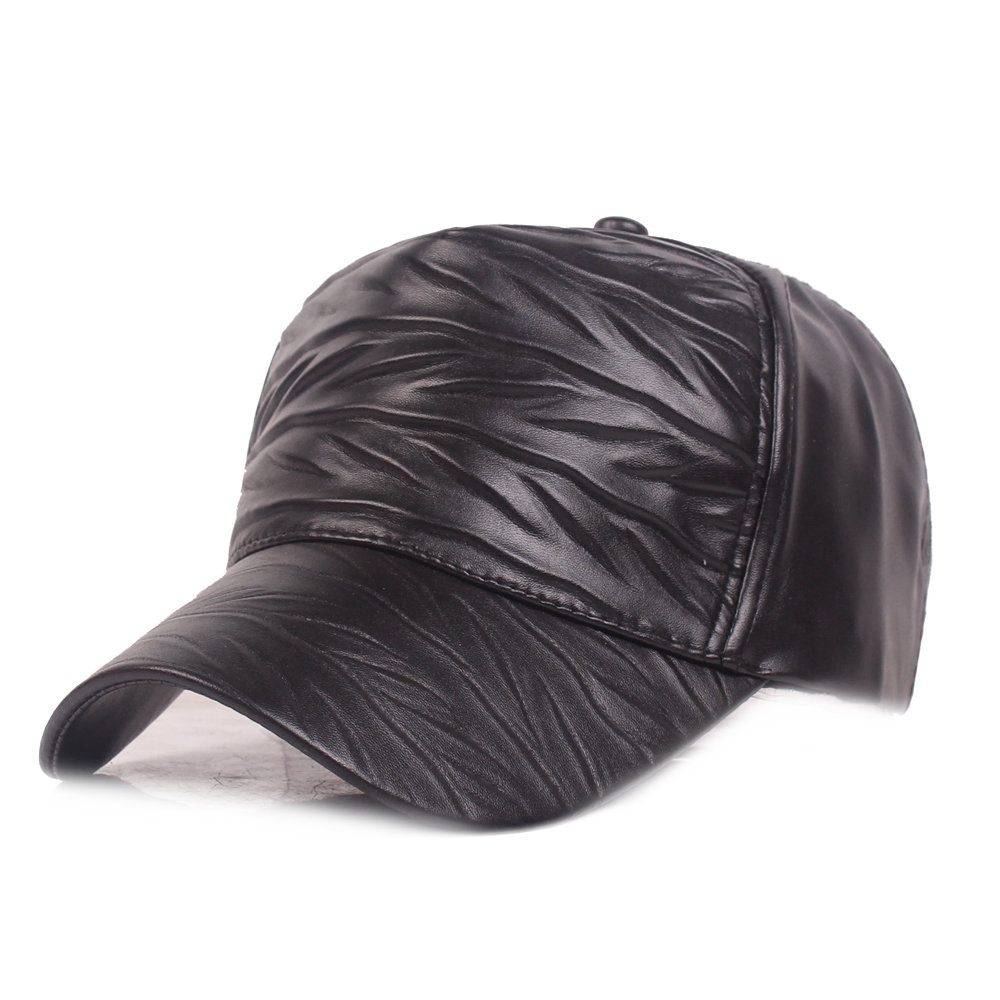 Womens Mens Adjustable Retro Style Warm Windproof PU Leather Baseball Cap Outdoor Sun Hat