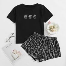 Cactus Print Tee & Shorts PJ Set