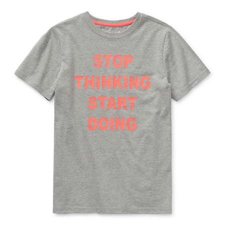 Xersion Little & Big Boys Crew Neck Short Sleeve Graphic T-Shirt, 8 Husky , Gray