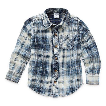 Okie Dokie Toddler Boys Long Sleeve Button-Down Shirt, 3t , Blue