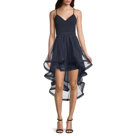 City Triangle Sleeveless High-Low Party Dress-Juniors, 9 , Blue