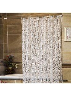 European Style White Flowers Print Shower Curtain
