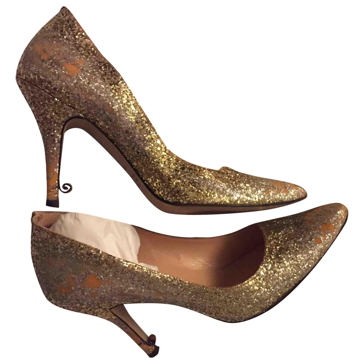 Maison Martin Margiela \N Gold Glitter Heels for Women 39 EU